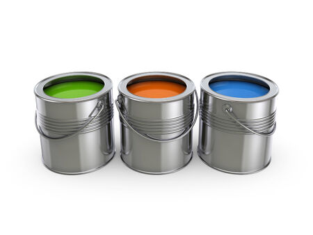 Paint buckets.Isolated on white background.3d rendered illustration. illustration