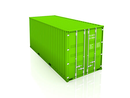Green container.Isolated on white background.3d rendered illustration.
