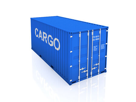 Blue container.Isolated on white background.3d rendered illustration. Stock Photo