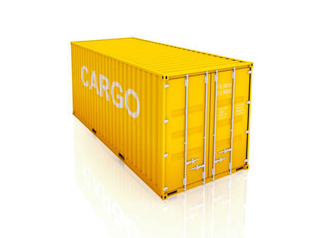 cargo container: Yellow container.Isolated on white background.3d rendered illustration.