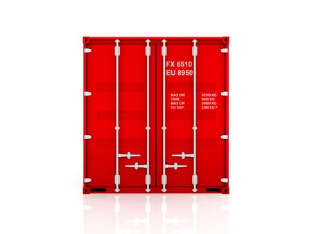 Red container.Isolated on white background.3d rendered illustration. Stock Photo