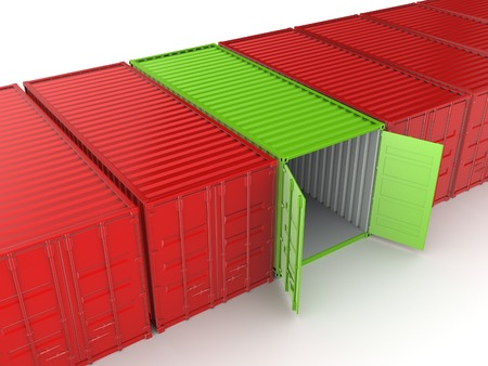 storage warehouse: Unique container among ordinary.Isolated on white background.3d rendered illustration.