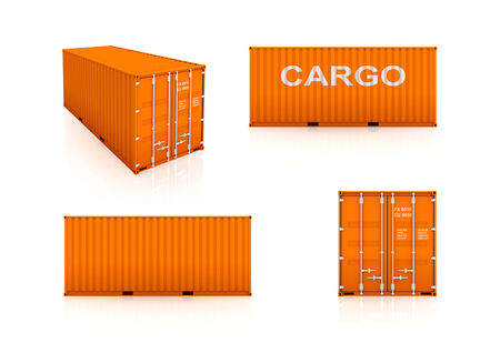 Set of colorful containers.Isolated on white.3d rendered. Stock Photo