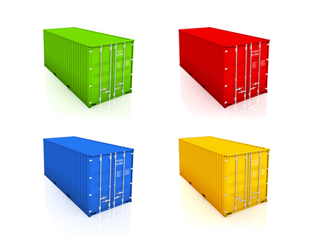 bulk carrier: Set of colorful containers.Isolated on white.3d rendered. Stock Photo