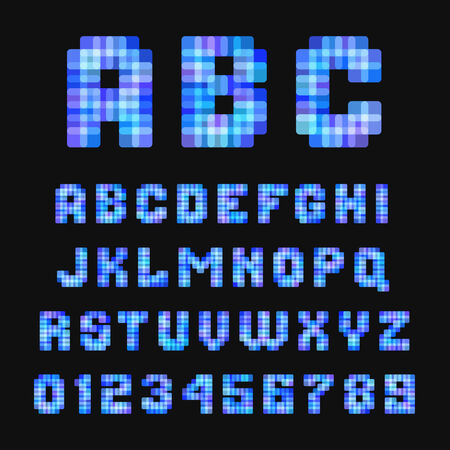Modern neon pixel font on black background. Vector template. photo