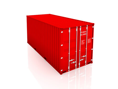 Red container.Isolated on white background 3d rendered illustration.
