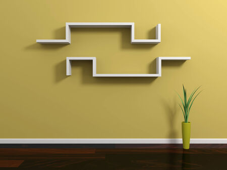 Interior composition with modern shelf on yellow wall. photo