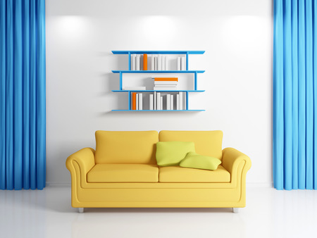 3d rendered modern interior with yellow sofa. photo