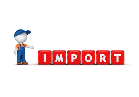 3d small person in workwear and word IMPORT isolated on white background  photo