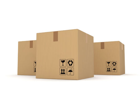 bulk carrier: Carton boxes Isolated on white background 3d rendered illustration
