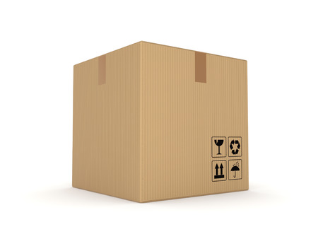 bulk carrier: Carton box, isolated on white background 3d rendered illustration
