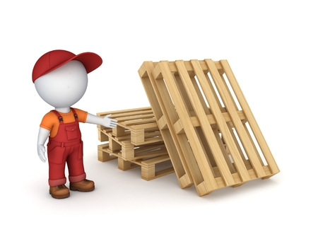 wooden figure: 3d small person in workwear isolated on white