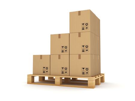bulk carrier: Carton box on a pallet Isolated on white