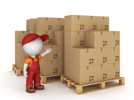 3d small person and carton boxes, isolated on white background 3d rendered illustration  illustration