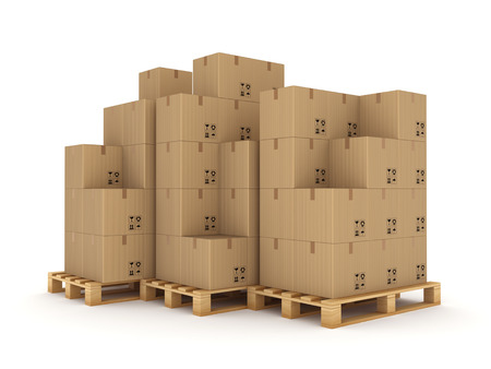 Carton boxes on a pallet Isolated on white  photo