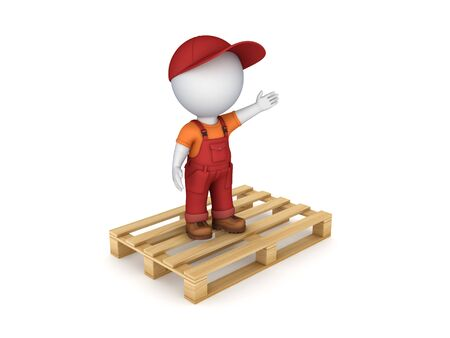 workwear: 3d small person in workwear on pallet