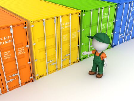 Colorful containers, isolated on white background 3d rendered illustration  Stock Photo