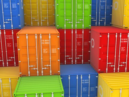 bulk carrier: Colorful containers, isolated on white background 3d rendered illustration  Stock Photo