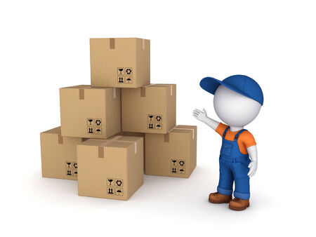3d small person in workwear and carton boxes  Stock Photo