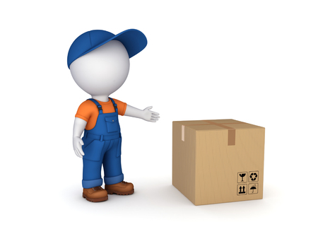 bulk: 3d small person in workwear and carton box
