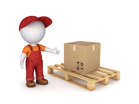 workwear: 3d small person in workwear and carton box