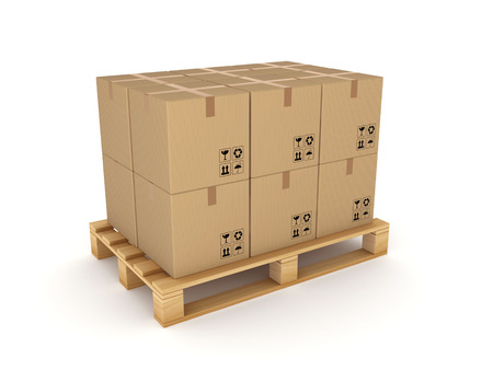 bulk carrier: Carton boxes on a pallet Isolated on white  Stock Photo