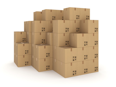 bulk carrier: Carton boxes, isolated on white background 3d rendered illustration