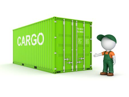 3d small person in a workwear near container, 3d rendered illustration