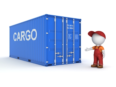 workwear: 3d small person in a workwear near container, 3d rendered illustration