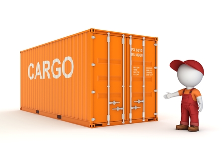 3d small person in a workwear near container isolated on white background