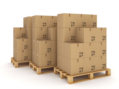 Carton boxes on a pallets Isolated on white  photo