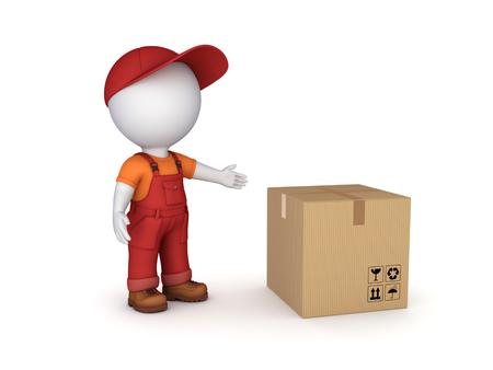 packer: 3d small person in workwear and carton box