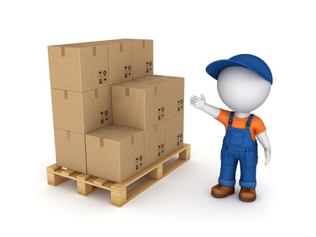 3d small person in workwear and carton box