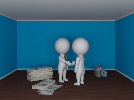 3d small people making deal  Real estate concept  photo