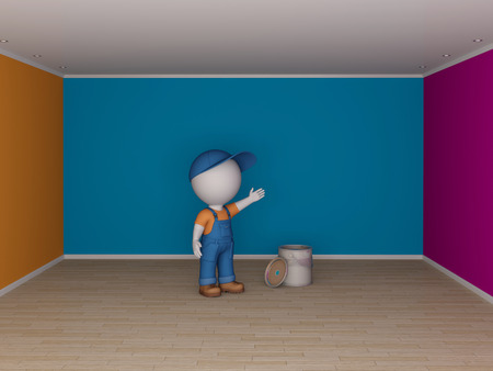 workwear overall: Colorful empty room and the man in workwear  Renovation concept