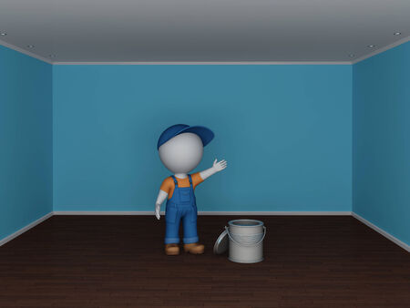 workwear: Colorful empty room and the man in workwear  Renovation concept