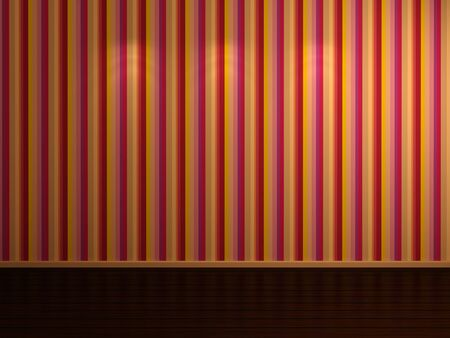 laminated: 3d rendered empty room with laminated floor and striped wallpapers