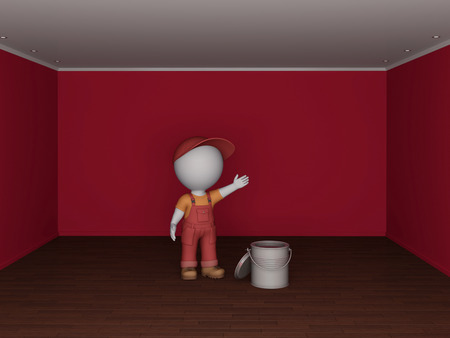 Colorful empty room and the man in workwear  Renovation concept