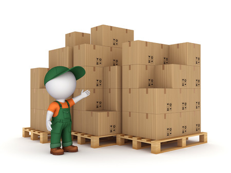 3d small person and carton boxes isolated on white background  photo