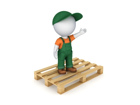 3d small person in workwear on pallet