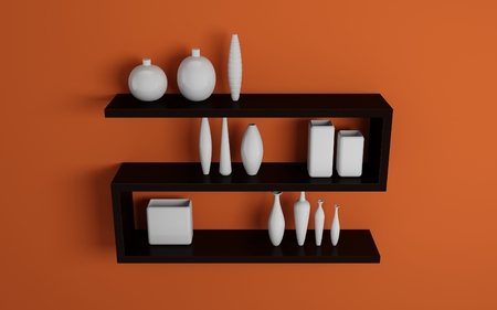 Modern shelves on wall with white pottery  photo
