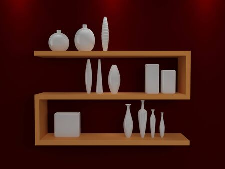 Modern shelves on wall with colorful pottery  photo