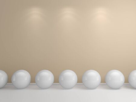 Abstract interior composition with white spheres on a floor   photo