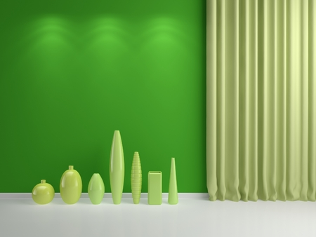 3d rendered abstract interior composition with ceramics  photo