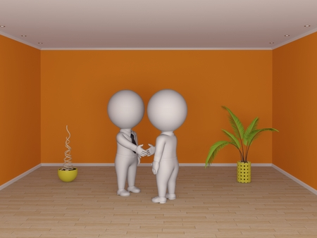 3d small people making contract  Real estate concept  Stock Photo