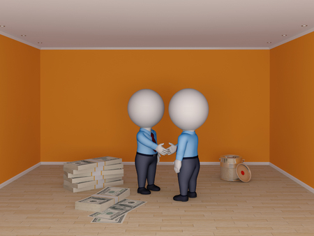 3d small people making contract  Real estate concept  photo