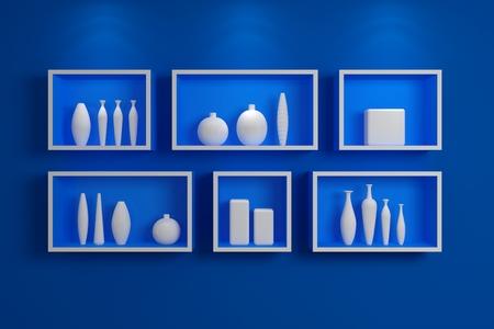 estantes modernos en pared con cermica de colores foto de archivo