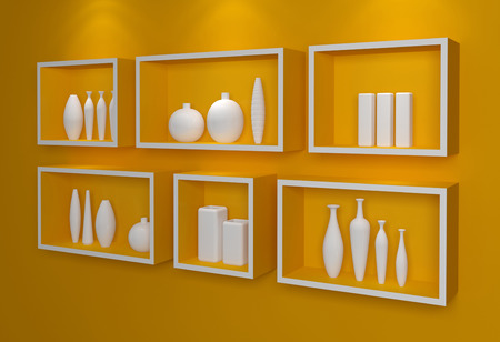 Modern shelves on wall with colorful pottery. photo