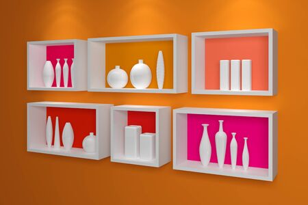 Modern shelves on a wall with colorful pottery. photo