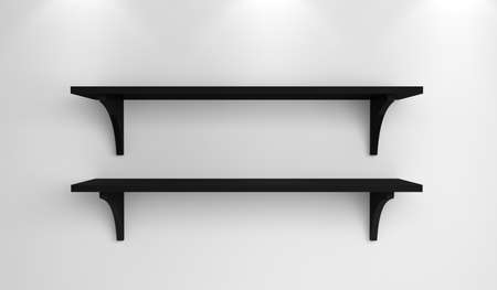 Modern interior composition with simple shelves on a wall. photo